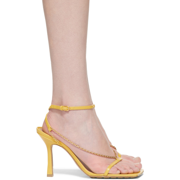 Yellow Stretch Chain Sandals