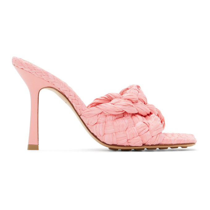 Pink Raffia Stretch Heeled Mules