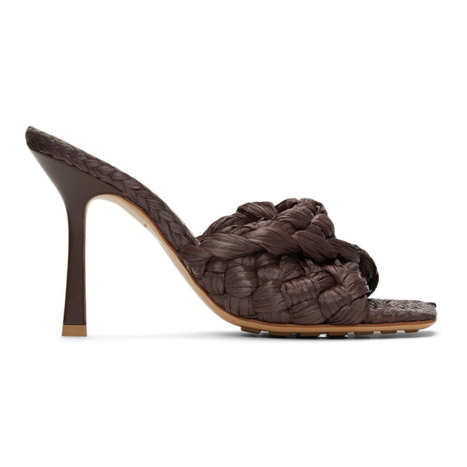 Brown Raffia Stretch Heeled Mules
