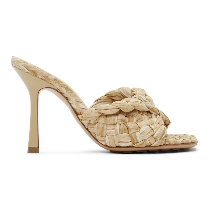 Beige Raffia Stretch Heeled Mules